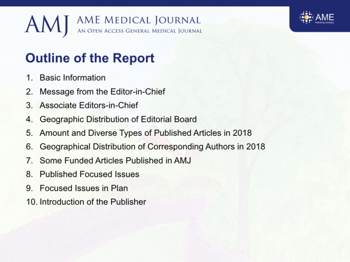 2018 Annual Report of AMJ - AME Medical Journal