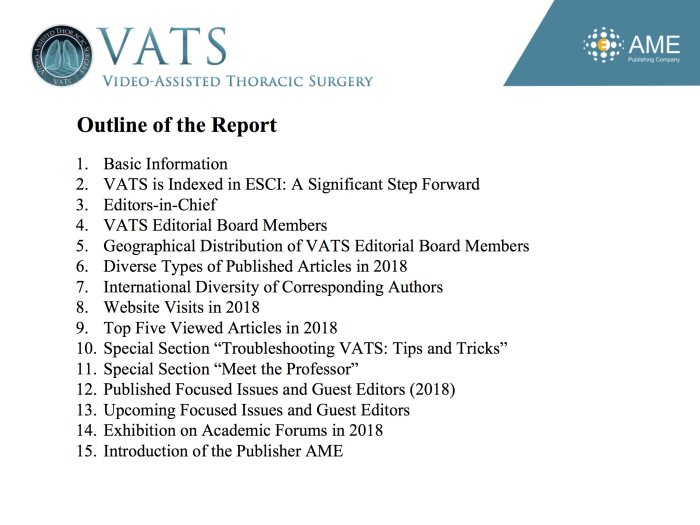 2018 Annual Report of VATS - Video-Assisted Thoracic Surgery